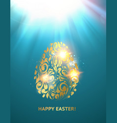 golden easter egg with spot light on blue backdrop vector image