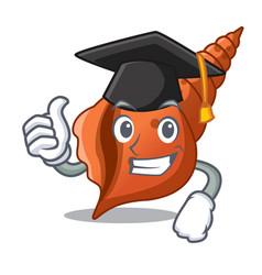 Graduation long shell character cartoon vector