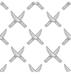 Hand drawn crossed knives seamless pattern vector