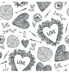 hand drawn doodle seamless pattern black vector image