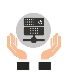 Hands businessman data center server vector