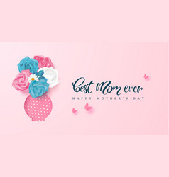 happy mothers day greeting card with roses and vector image