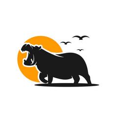 Hippopotamus animal modern logo vector