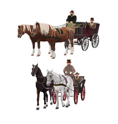 Horse-drawn carriages vector