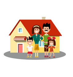 house icon with happy family vector image