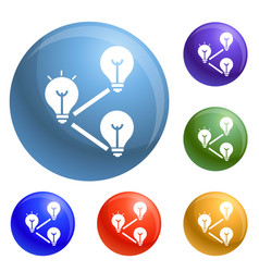 idea bulb interaction icons set vector image