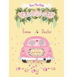 just married car with save date wedding vector image