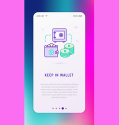 keep currency in virtual wallet concept vector image