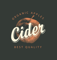 Label for cider with apple and inscription vector