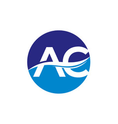 Letter a and c with wave on white background vector