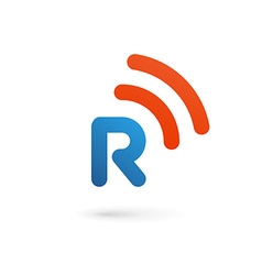Letter R wireless logo icon design template vector image