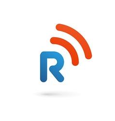Letter R wireless logo icon design template vector image