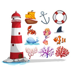 Lighthouse and other ocean things vector image