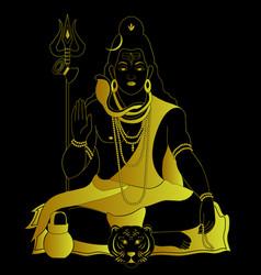 Lord shiva god hindu gold art logo vector