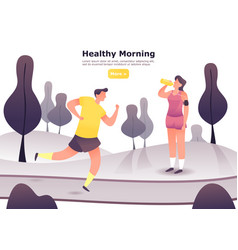 man jogging or at scamper woman resting vector image
