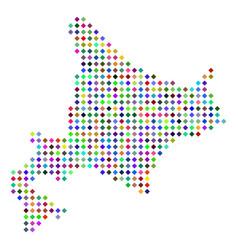Multicolored dot hokkaido island map vector