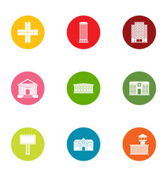 New europe icons set flat style vector