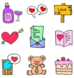 Object cute love of doodles vector image