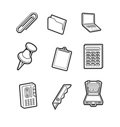 office cartoon icon collection set vector image