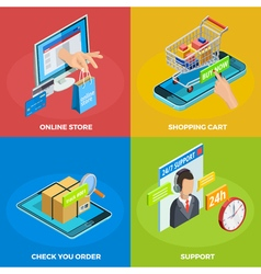 Online Shopping 4 Isometric Icons Square vector image