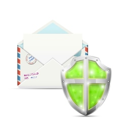 Open Envelope Protected By Shield vector image