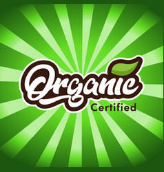 Organic certified logo icon vector