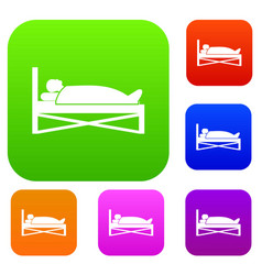 patient in bed in hospital set collection vector image