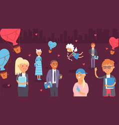 people on valentines day cupid aiming at single vector image