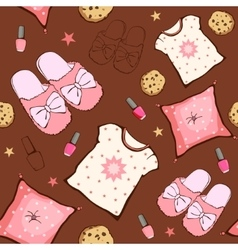 Pink brown sleepover party food objects vector