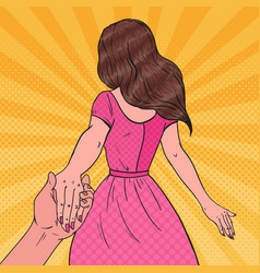 Pop art brunette woman holding hands follow me vector