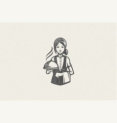 Professional waitress holding tray silhouette vector