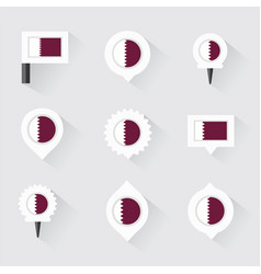 Qatar flag and pins for infographic and map design vector