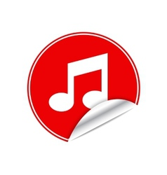 Red sticker music vector image