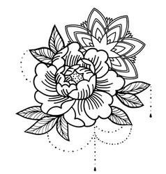 Rose tattoo mystic symbol flower with string vector