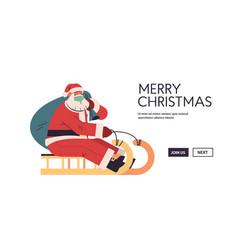 santa in protective mask riding sledge happy new vector image