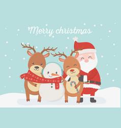 santa snowman reindeer celebration happy christmas vector image