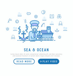 sea and ocean journey concept captain with ship vector image