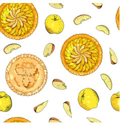 Seamless pattern with apple pies the theme vector