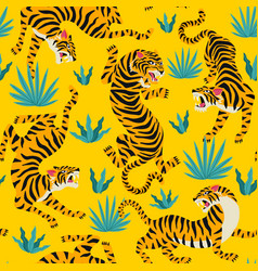 seamless pattern with cute tigers vector image