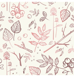seamless pattern with leaves branches berries bump vector image