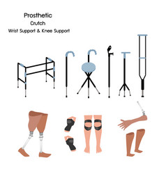 Set of prosthetic crutch and wrist and knee suppo vector