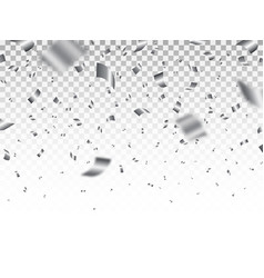 silver confetti isolated on transparent backdrop vector image