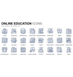 simple set education line icons for website vector image