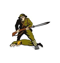 Soldier Standing Over Body vector