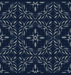 Traditional indigo blue seamless pattern vector