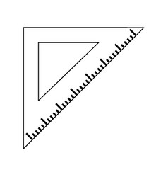 triangle ruler symbol black and white vector image
