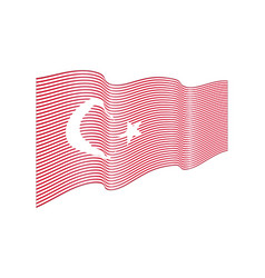 turkey flag on white background wave strip vector image