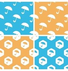 Umbrella pattern set colored vector