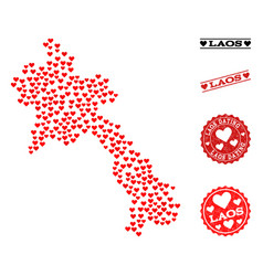 valentine mosaic map of laos and grunge stamps for vector image