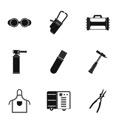 Welder icon set simple style vector